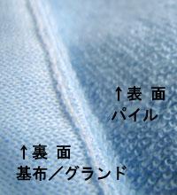 表面は細かいパイル地、裏面は、基布(パイル状ではございません)。